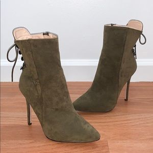 NEW Chase and Chloe Suede Lace Up Booties